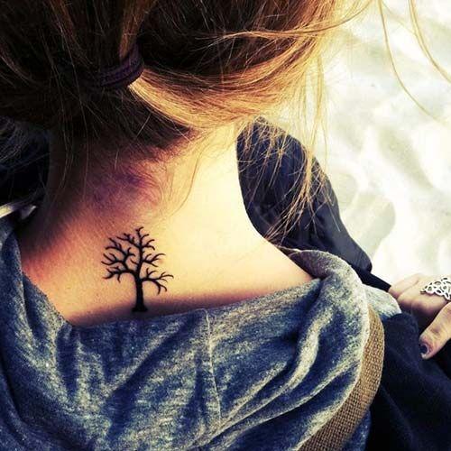 ağaç dövmeleri ense tree tattoo on neck