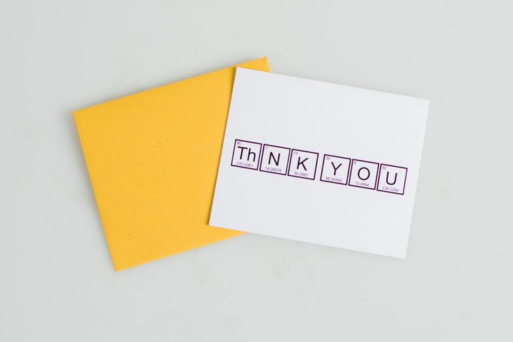 Periodic Table Thank You Cards (3-pack) + handmade envelopes + Free Shipping  $10.99