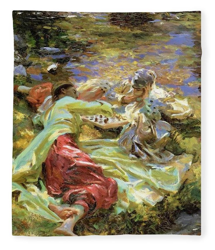 The Fleece Blanket featuring the painting The Chess Game by Sargent John Singer