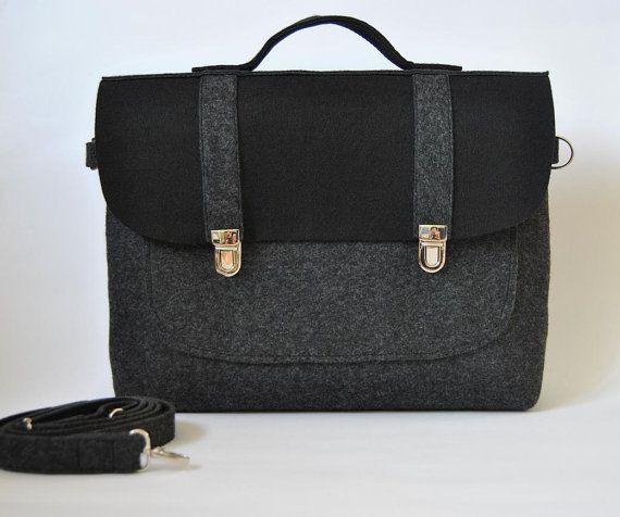 Felt briefcase 15 MacBook Pro laptop urban bag with a pocket black felt with stylish buckle Common Laptop Bag sleeve satchel case on Etsy, $50.00