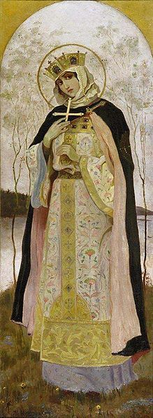 Saint Olga (c. 890 - 969, Kiev) was a ruler of Kievan Rus' as regent (945–c.963) for her son, Svyatoslav, who was only 3 yrs old when his father died. She was the first Rus' ruler to convert to Christianity, either in 945 or in 957. Olga was one of the first people of Rus' to be proclaimed a saint, for her efforts to spread the Christian religion in the country.However, she failed to convert Svyatoslav, and it was left to her grandson and pupil Vladimir I to make Christianity the state…