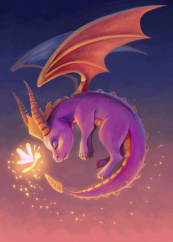 A 11x17 Image Printed On 100lb Gloss Cardstock Paper Mailed On Its Own In A Mailing Tube Mini Print Is 5x7 And Spyro The Dragon Dragon Art Spyro And Cynder