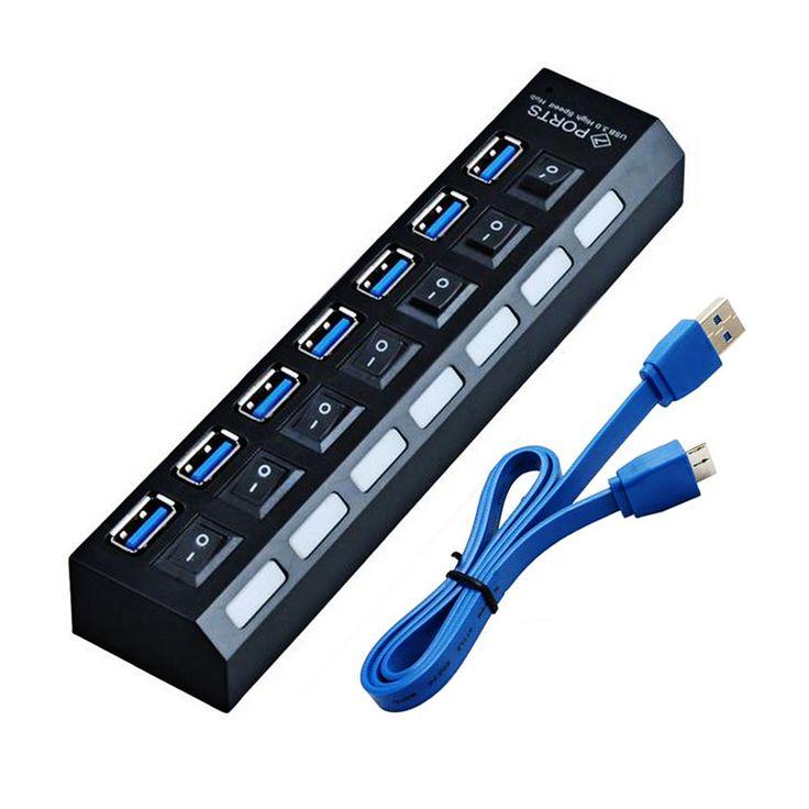 NUEVO HUB USB 3.0 Super Speed 5 Gbps 7 Puertos USB 3.0 HUB USB Divisor Con On/Off Interruptor Platooninsert Para Ordenador periféricos