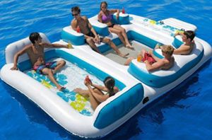 Big Inflatable Island Blue Lagoon http://everymomneeds.com/inflatable-floating-island/