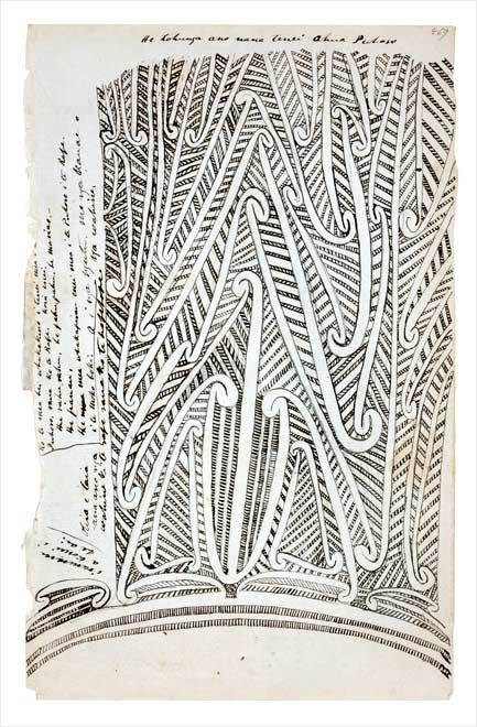 The early historian and ethnologist Wiremu Maihi Te Rangikāheke drew this puhoro tattoo pattern in about 1850, while working as a cultural adviser to Governor George Grey. The puhoro is tattooed on the thighs.