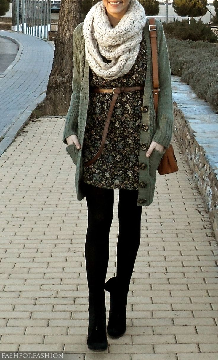 Chunky cardigan over dress...and of course the scarf!! This would look great on most body types :)