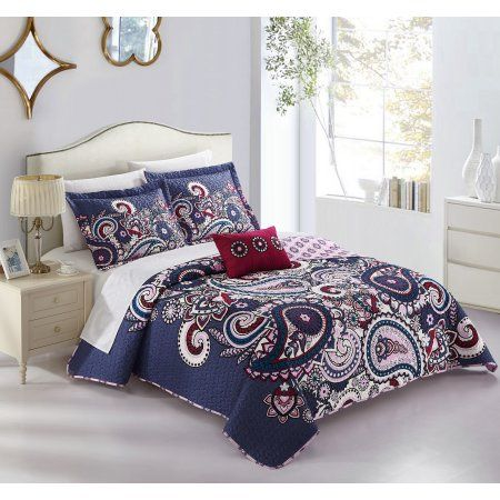 chic home gaara 8 piece reversible quilt cover set boho inspired large scale paisley print with