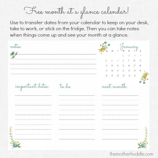 Free Printable :: January Month At A Glance Calendar