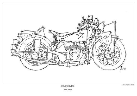 Motorcycle Art Print INDIAN 640B 1942 This by drawspots on