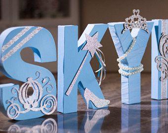 """Letras azules y plata, Foto Prop, centro de mesa, 8"""" carta independiente, personalizado letra, Baby Shower, 1er cumpleaños, Royal Princess"""