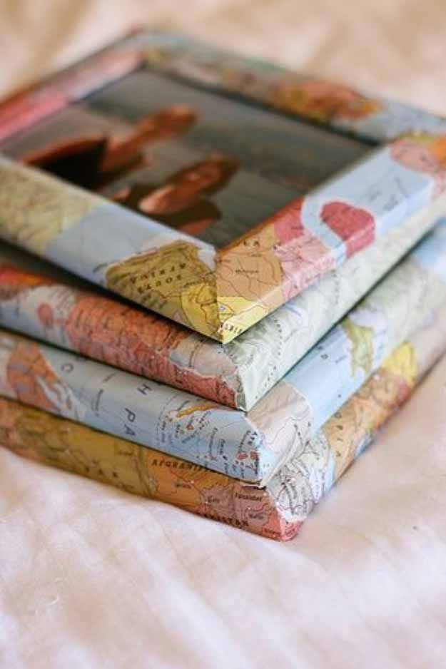 Quick and Easy Crafts | DIY Picture Frame with Maps at http://diyjoy.com/craft-ideas-diy-picture-frames