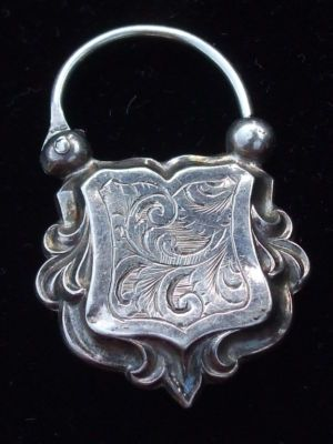ANTIQUE VICTORIAN ENGLISH STG SILVER PADLOCK FOB CHARM