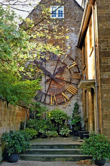 Large metal garden clock