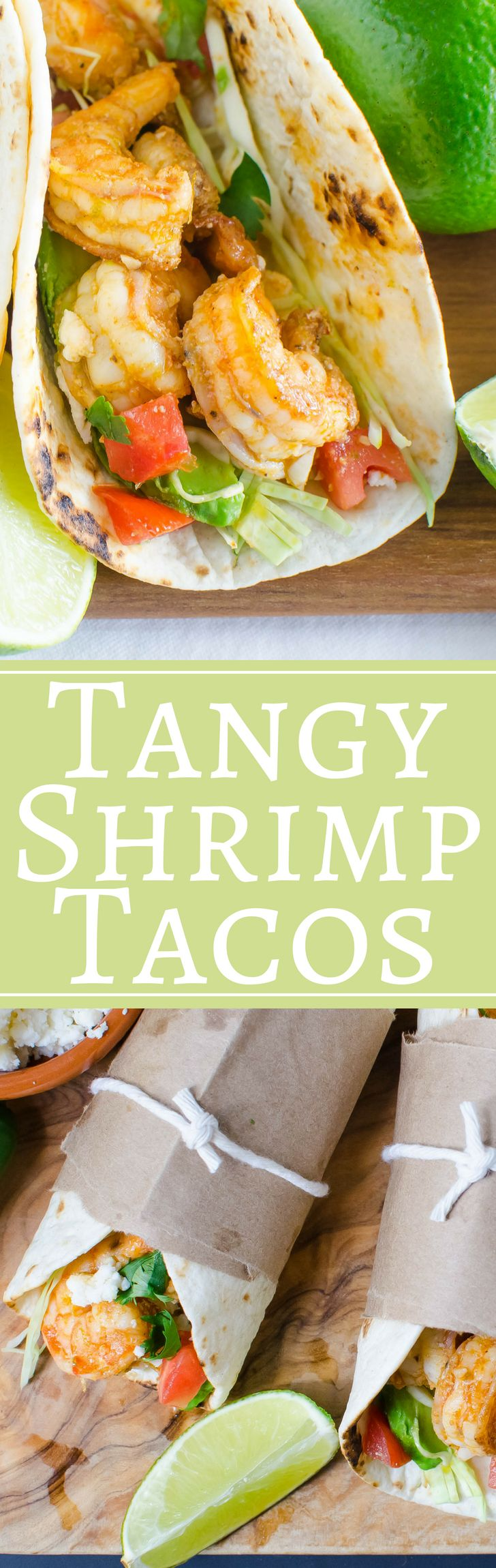 Love seafood tacos? This simple and easy recipe for Tangy Shrimp Tacos is a notch above your standard! With plenty of garlic and lime, the prawns are coated with a bright glaze that wakes up your taste buds! Use your favorite toppings for this family favo