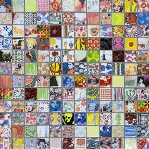 Lhådös kakel Jambi Warhol/Monroe mosaik 2,5 x 2,5 cm   Stonefactory.se