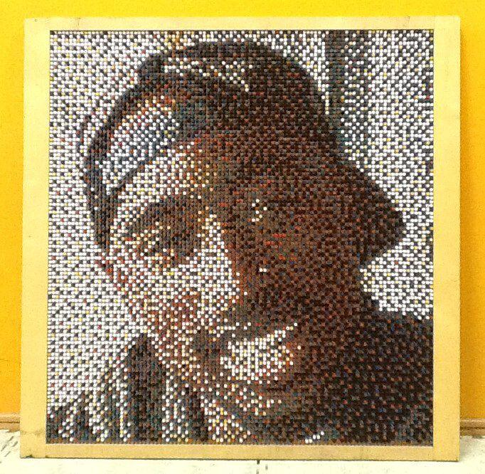 "Tupac Shakur from 10700 push pins. Art studio ""CUBERTY"". Тупак Шакур из 10700 канцелярских кнопок. Арт студия CUBERTY"""