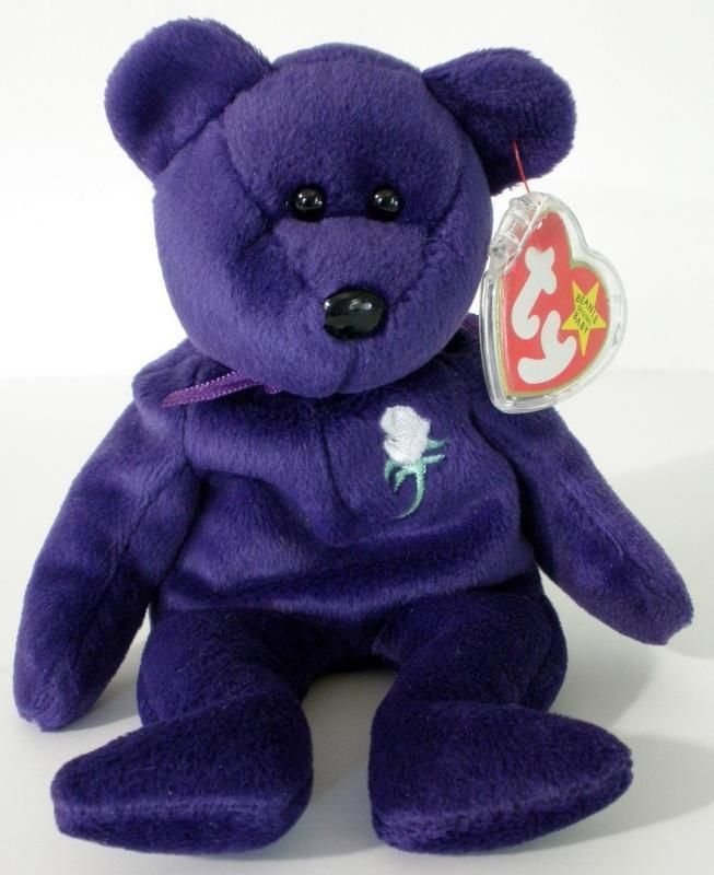 TY Beanie Baby - PRINCESS DIANA Purple Bear (1997 RETIRED) P.E. Pellets China #Ty