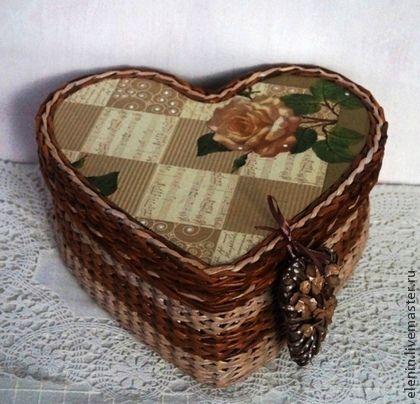 Плетеная шкатулка С любовью - коричневый,сердце,подарок,для женщины,плетеная