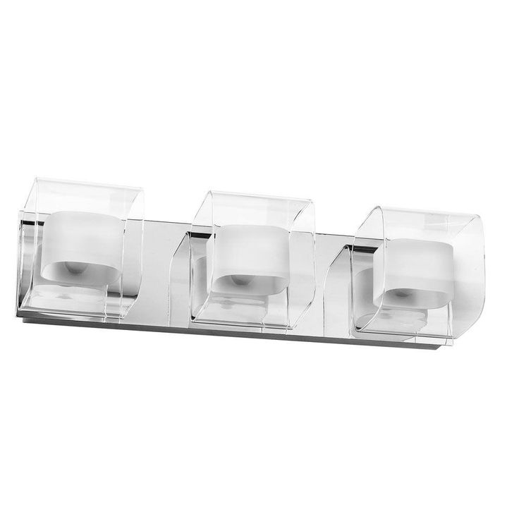 Make Photo Gallery Filament Design Catherine Light Polished Chrome Bath Vanity Light with Clear and Frosted Glass Shades