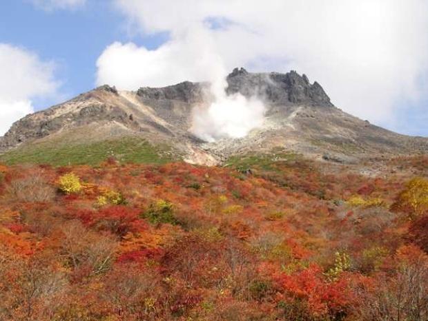秋・紅葉の茶臼岳付近。