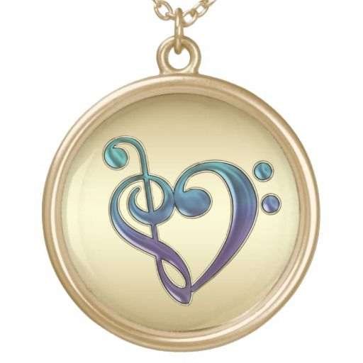 Purple Gold Green Treble Bass Clef Heart Necklace  #MUSIC