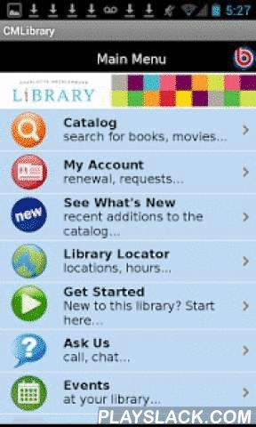Charlotte Mecklenburg Library  Android App - playslack.com , Connect to the Charlotte Mecklenburg Library from your mobile device. Search our catalog for books, movies, music and more, with easy search features designed for mobile devices. Check your account, place holds or renew items, get library hours and directions, find upcoming events, or contact us. We are here for you!Additional features:* Searching the catalog is easy! Just type in the first few letters of the words in your search…