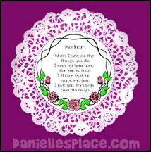Doily Mother's Day Poem Bible Craft for Sunday School