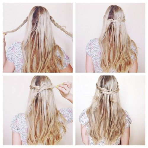 Easy Braided Updos For Shoulder Length Hair : 108 best half up down looks images on pinterest