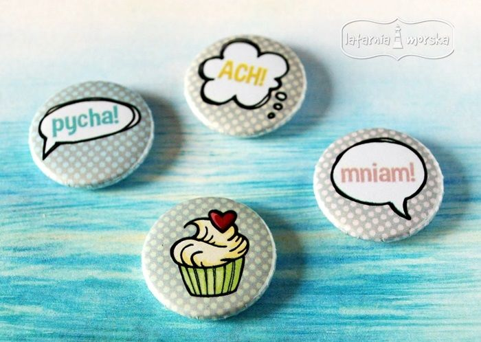 badziki z nowej babeczkowej kolekcji   http://www.hurt.scrap.com.pl/plakietki-ozdobne-flair-buttons-babeczki-komiks.html