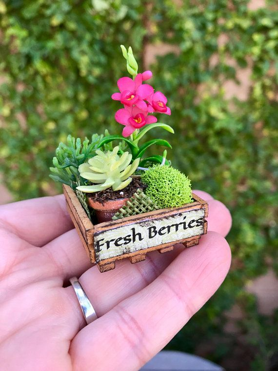 Crate Of Flowers, Dollhouse Garden, Artisan Miniatures | Miniature  Dollhouse Garden | Pinterest | Crates, Miniatures And Fairy
