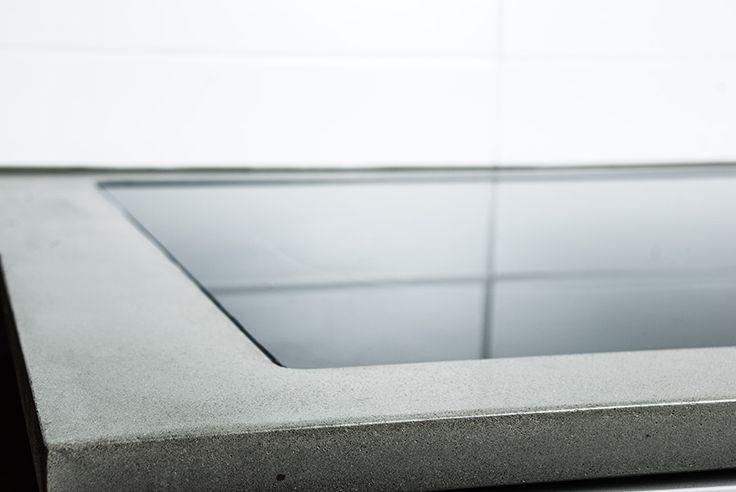 Nedsänkt häll i köksbänk av betong, Welander kök – integrated stove in the concrete, Welander kitchen