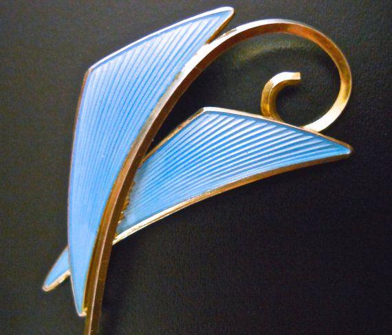 Blue Enamel Sterling Silver Guilloche Brooch by RenaissanceFair