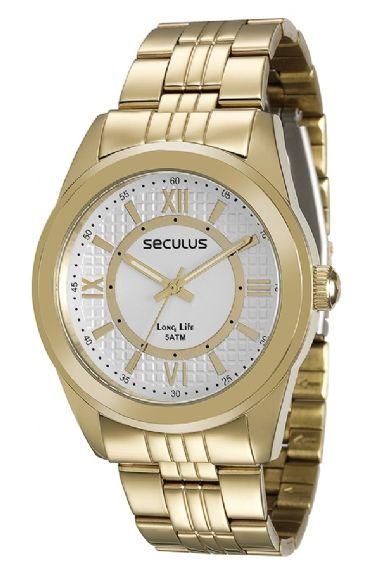 28544LPSVDA1 Relógio Feminino Dourado Seculus Long Life