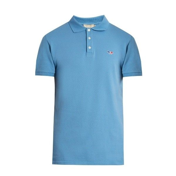 Maison Kitsuné Logo-embroidered cotton-piqué polo shirt ($87) ❤ liked on Polyvore featuring men's fashion, men's clothing, men's shirts, men's polos, blue, mens blue polo shirts, mens polo shirts, mens blue shirt, mens slim fit shirts and mens pique polo shirts