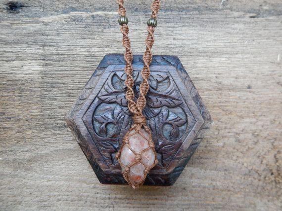 Healing Sunstone Macrame Necklace.