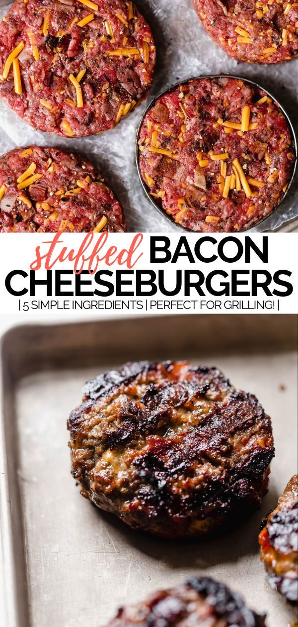 bacon cheddar stuffed burgers | learn how to make bacon cheddar cheese stuffed burgers recipe (aka the best grilled burgers you can make at home!). this 30 minute recipe needs just 5 ingredients! #playswellwithbutter #burgerrecipes #baconburger #stuffedburger #cheeseburgerrecipe #grilledburger #grillingrecipes #grillingburgers