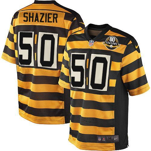 Nike Pittsburgh Steelers Men's #50 Ryan Shazier Elite Gold/Black Alternate 80th Anniversary Throwback NFL Jersey