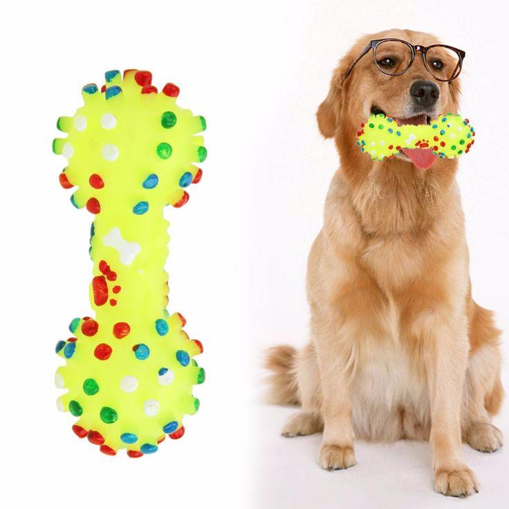 Игрушки для собак Красочные Пунктирная Гантели Формы Собаки Игрушки Squeeze Скрипучий Искусственные Кости Домашних Животных Жевать Игрушки Для Собак