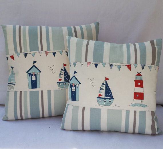 Quality Stunning Handmade 12x12/14x 14/16x16/18x18 Nautical Beach Huts Sea side Cushion covers ************************ Features x Varies sizes