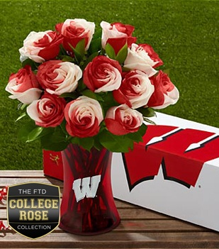The University of Wisconsin Badgers™ Rose Bouquet. FTD® proudly presents the University of Wisconsin Badgers™ Rose Bouquet. Show your colors and pride with this unique rose bouquet celebrating the spirit of a university that rises to every challenge! This gift is a wonderful way to celebrate birthdays, anniversaries, homecomings, graduations, and any of the accomplishments that students and alumni achieve throughout their lives.