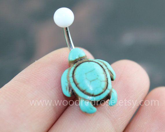 Turquoise schildpad Belly Button Rings schildpad door woodredrose