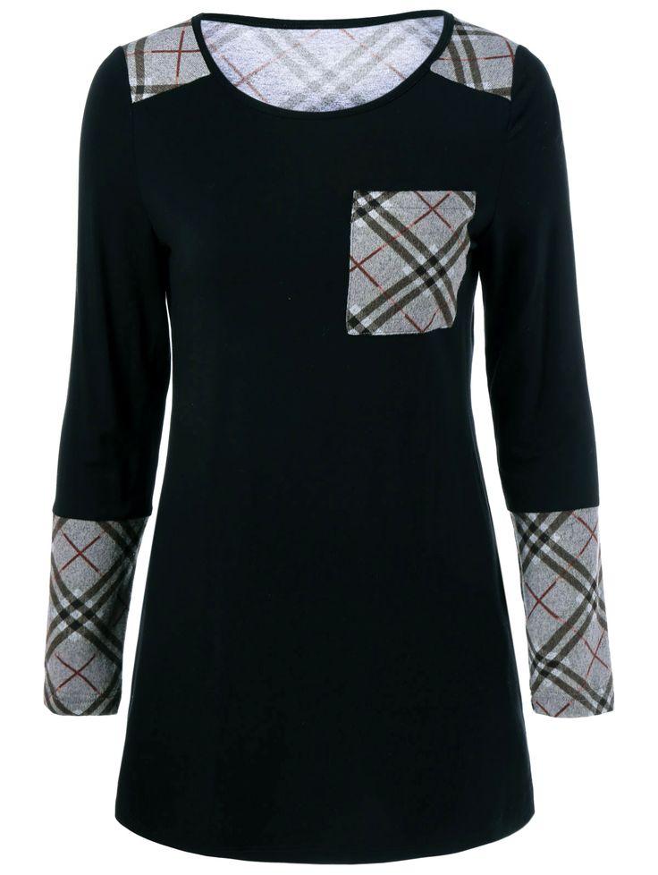 $12.39 One Pocket Plaid Spliced T-Shirt