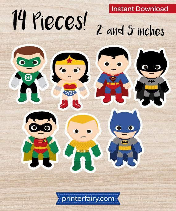 Batman cupcake toppers Superman cupcake toppers by PrinterFairy