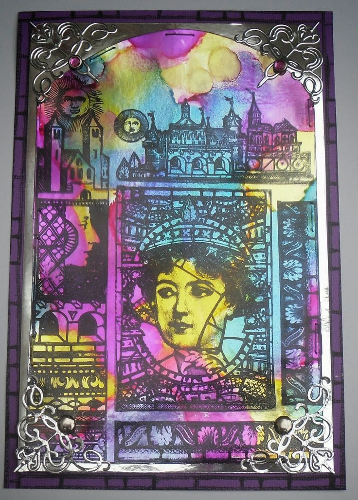 Alcohol inked glass by Helen Chilton made using PaperArtsy / Lynne Perrella 2015 stamps