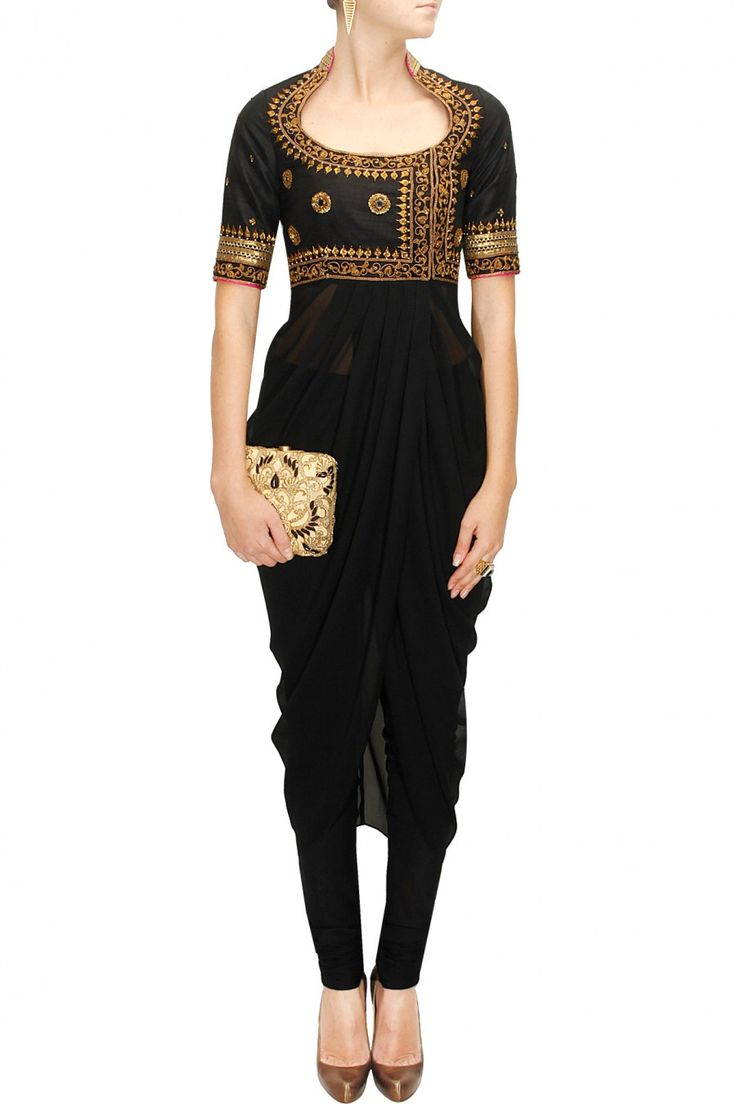 Black embroidered drape set available only at Pernia's Pop-Up Shop.