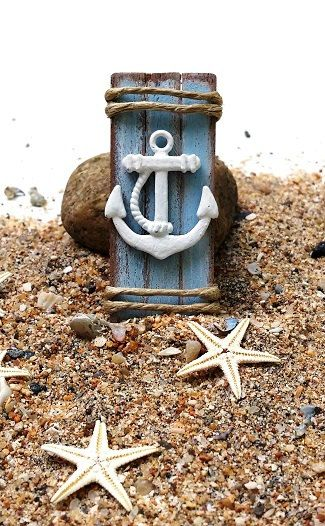 Miniature beach picture  dollhouse anchor picture  by DewdropMinis