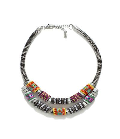 SILVER PLATED NECKLACE WITH FABRIC PIECES
