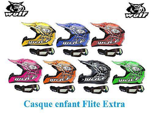 Casque moto enfant WULF FLITE-EXTRA ENFANTS CASQUE Moto Quad MX VTT Sports hors route Casque ECE + X1 Lunettes noires (bleu, L):…