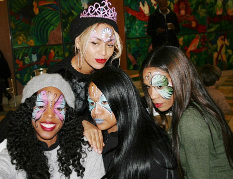 Face paint! Beyonce shared pictures from inside Blue Ivy's birthday bash, which was attended by Destiny's Child sisters Michelle Williams and Kelly Rowland.