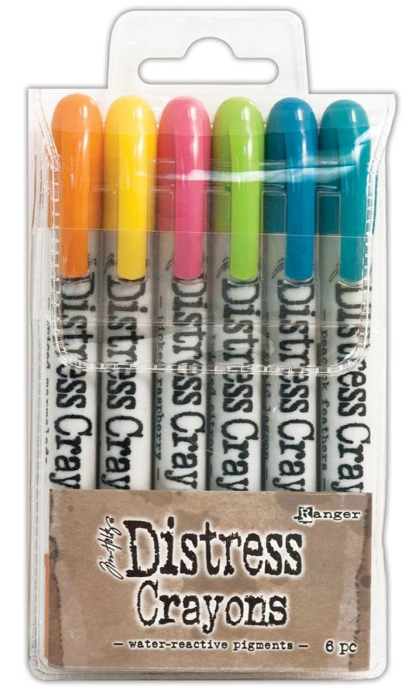 TIM HOLTZ: Distress Crayons Set #1 Distress Crayons are formulated to achieve vibrant coloring effects on porous surfaces for mixed-media. The smooth water-reactive pigments are ideal for creating bri